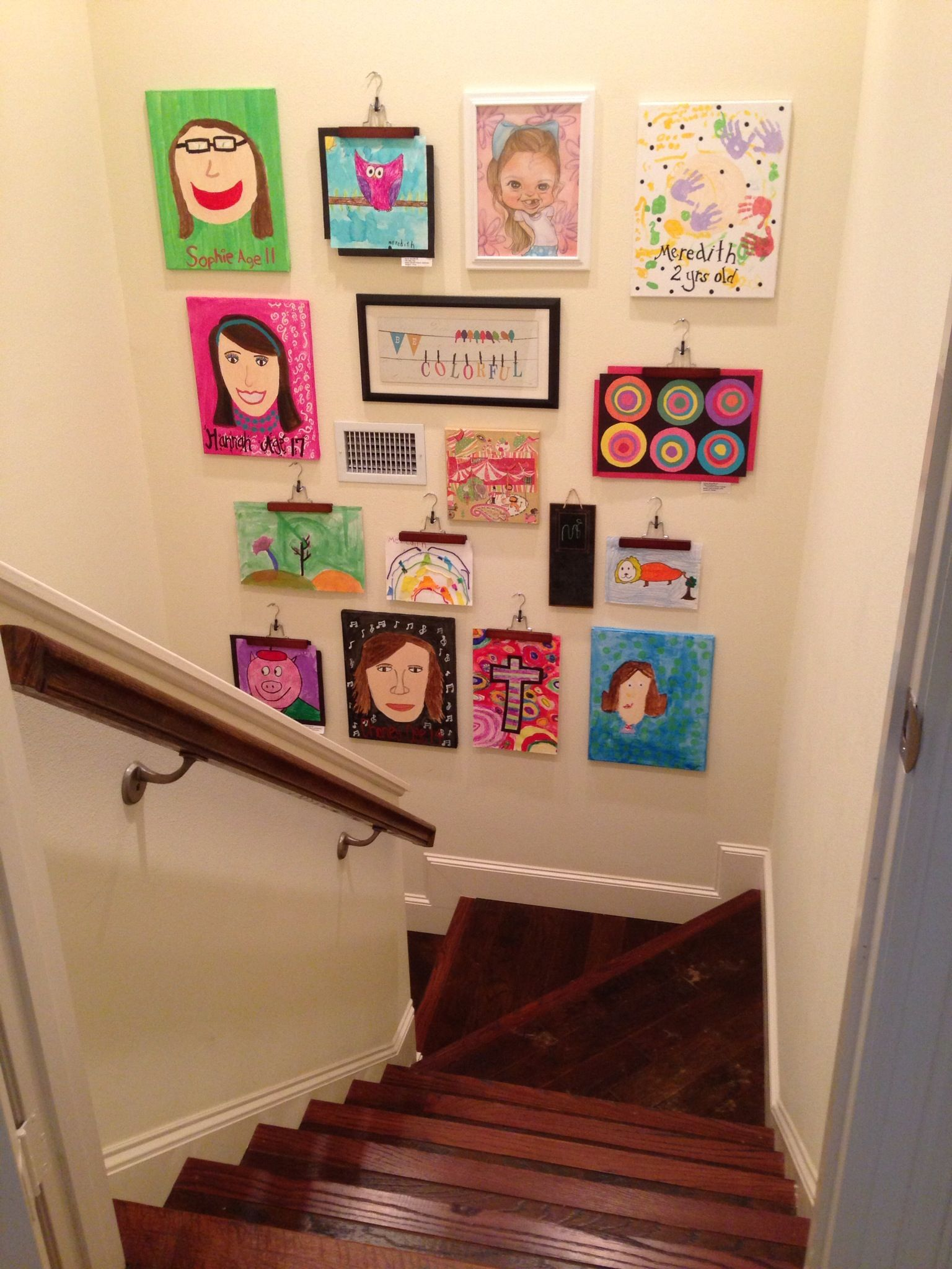 A fun way to display children's art Art display kids