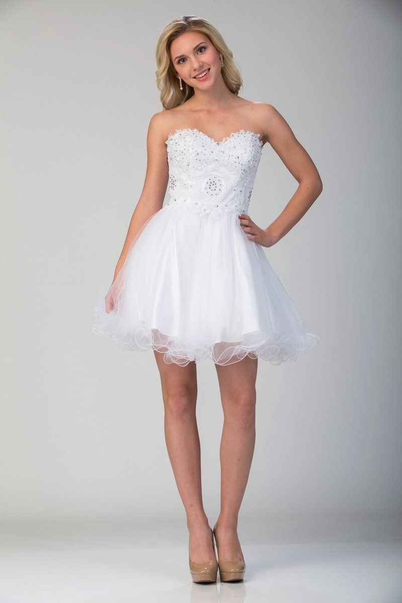 Lace Applique Short Strapless Dress With Ruffled Skirt By Star Box 6413 In 2021 Pretty Girl Dresses Dresses Strapless Dresses Short [ 1200 x 800 Pixel ]