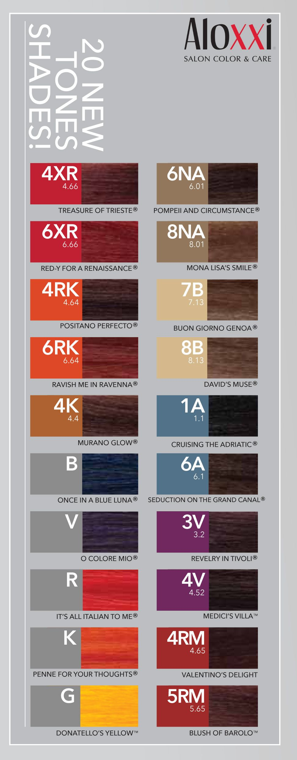 Aloxxi 20 new tones shades color charts pinterest hair