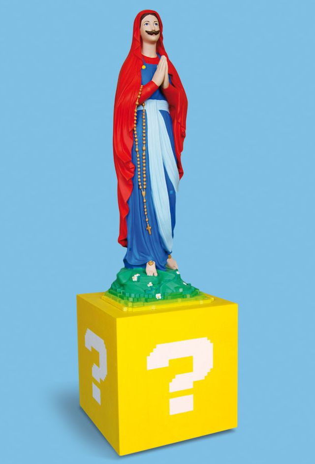 These are amazing.  Virgin Mary transformed.  Super Mary O by Soasig Chamaillard