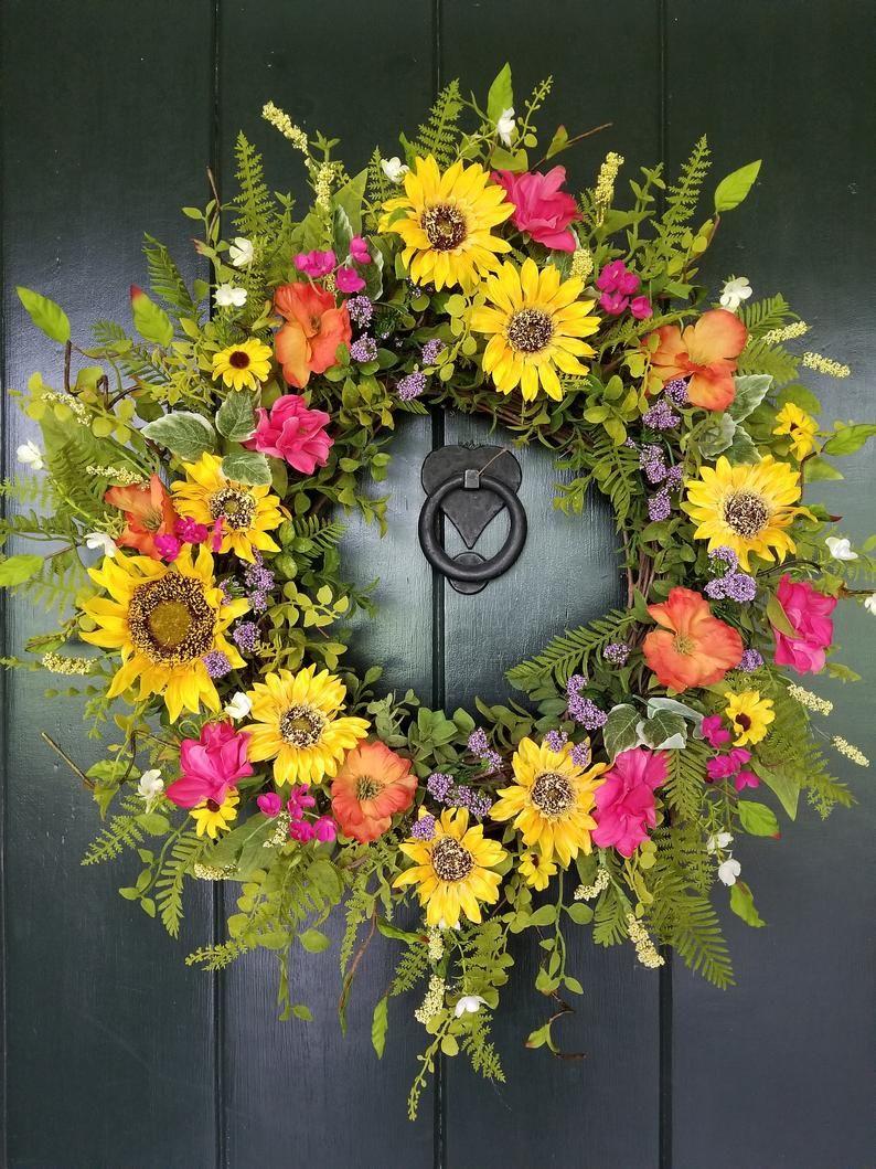 Photo of Summer Wreaths for Front Door, Sunflower and Wildflower Wreath, Spring Wreaths for Front Door, Garden Decor, Farmhouse Wreath, Easter Decor