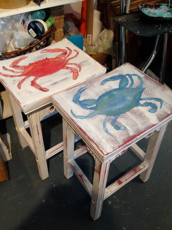 Set Of 2 Saddle Style Crab Stools By AshleighJames On Etsy, $155.00.  Bemalte MöbelMaritimSelbermachenStrandhüttenStrandhäuserStrand ...