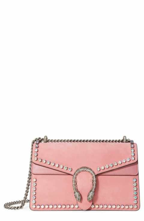5bb6da89aa6 Gucci Small Dionysus Crystal Embellished Suede Shoulder Bag ...