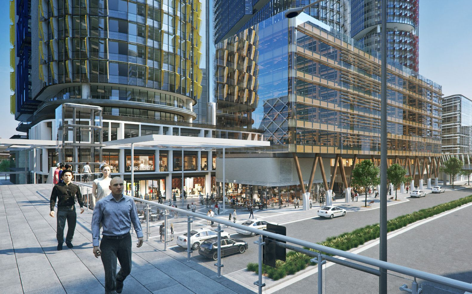 Tzannes Releases Designs for Australia's Largest Commercial Timber Building,View from Hickson Road pedestrian bridge. Image Courtesy of Tzannes
