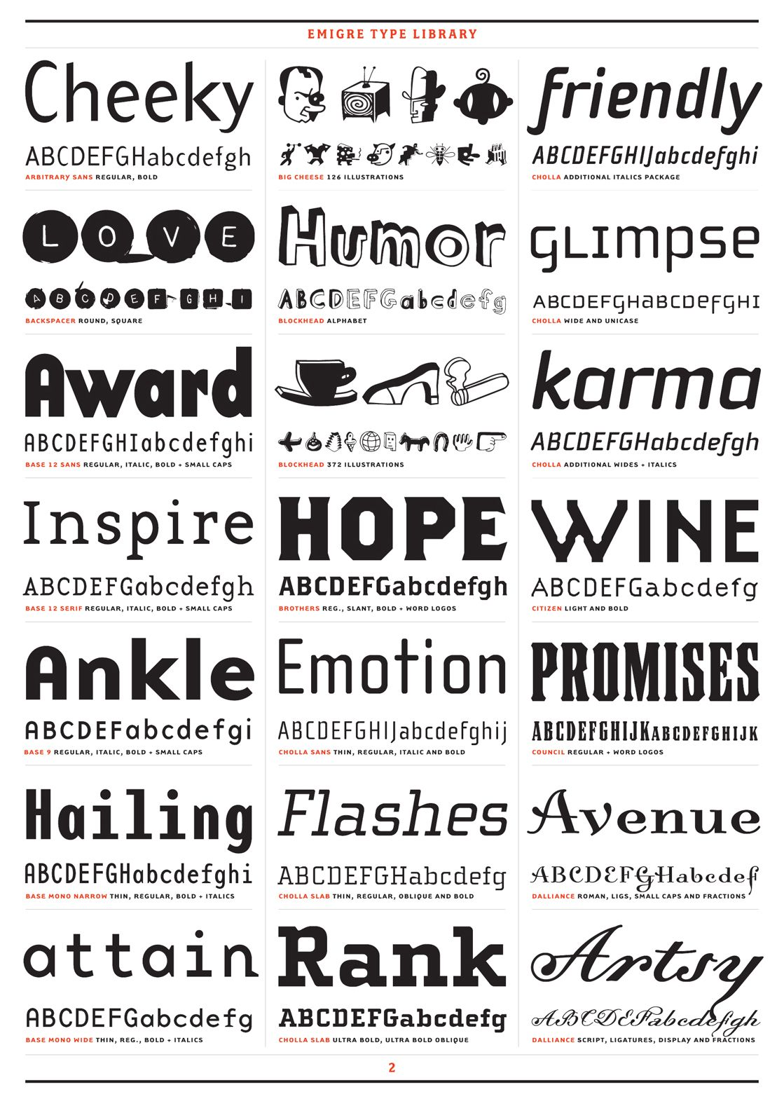 Emigre Font Library Specimens- Cheeky, Promises, and more