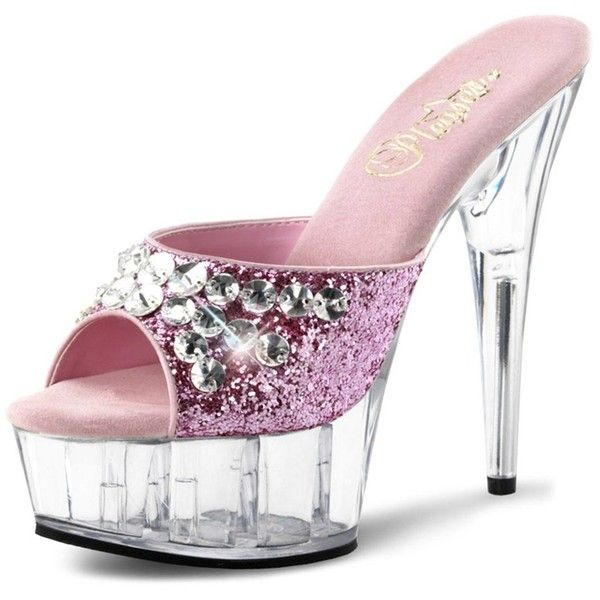 adbca5c12e8a Sparkling Pale Pink Glitter Heels with Rhinestones and Clear 6 Inch ...