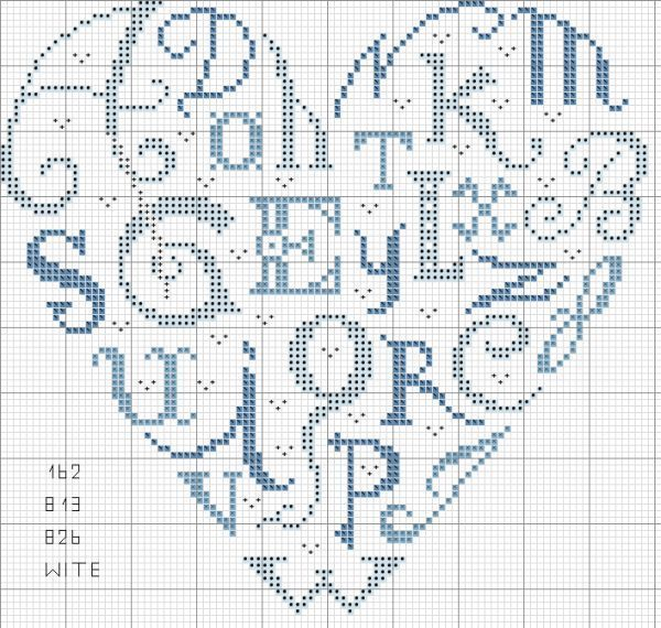 Pin di ronda harris su you are my heart free cross stitch for Ricamo a punto croce lettere alfabeto
