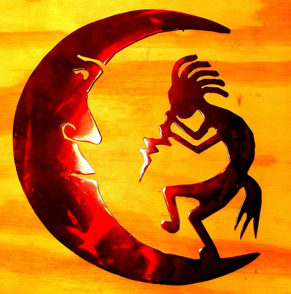 10 inch Kokopelli on the Moon Red Metal Wall Art Southwestern Tribal ...