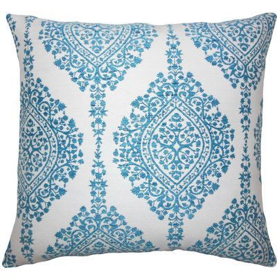 """The Pillow Collection Zanthe Damask Throw Pillow Size: 18"""" H x 18"""" W x 5"""" D, Color: Peacock"""
