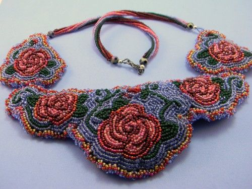 Bead Embroidered Rose Necklace