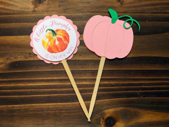 12 Little Pink Pumpkin Baby Shower Cupcake Toppers