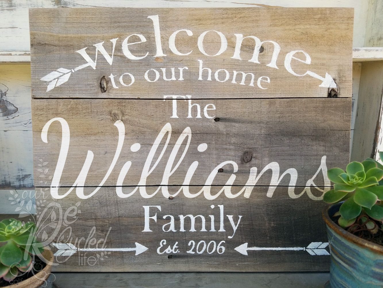 Superior Personalized Family Sign Welcome To Our Home Established Custom