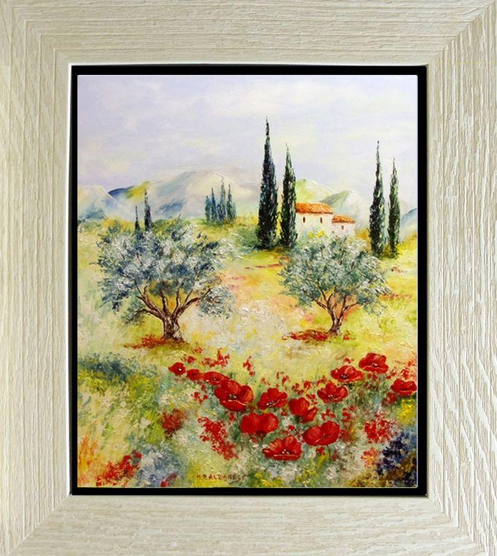 TABLEAU PEINTURE Tableaux de Provence Coquelicots, olivier ...