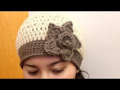 Como Tejer Gorro con Moño en Crochet Para Niñas con Punto Cruzado - YouTube ecd5db5322e
