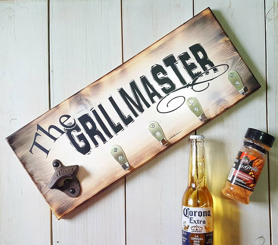 The grillmaster wood sign gift for men christmas - Grill utensil storage ideas ...