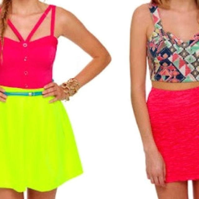 neon crop tops with high waisted skirts summer