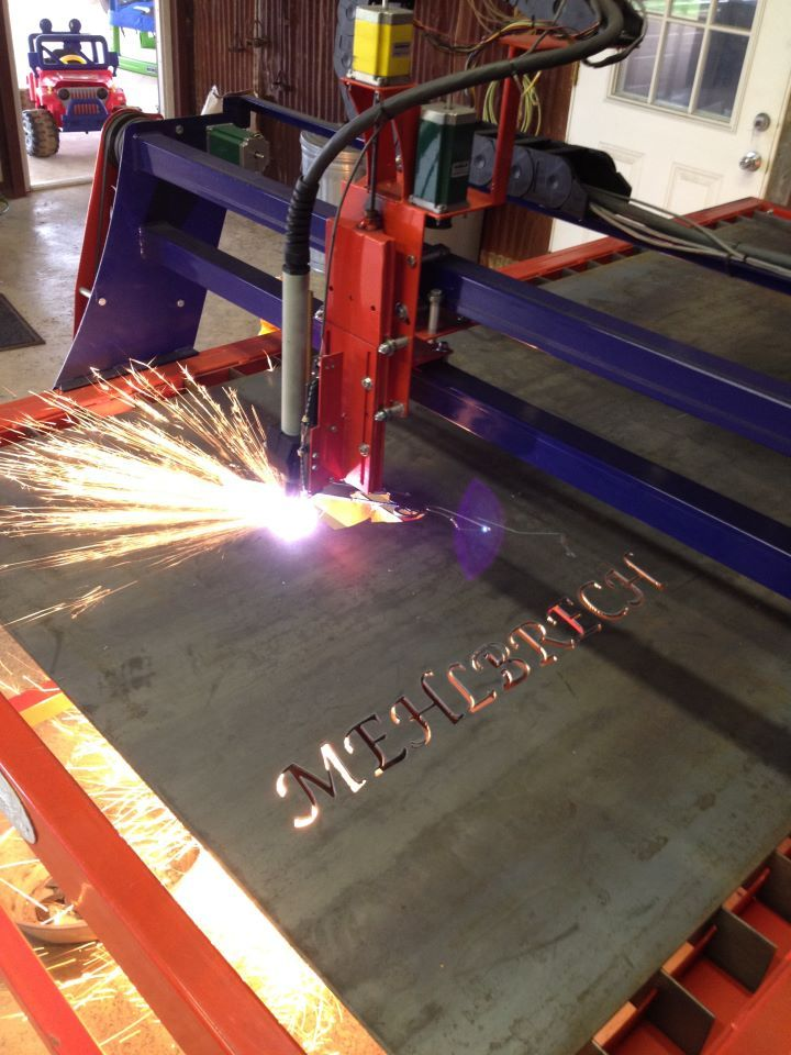 Cutting Out A Metal Sign Via A Cnc Burntables Plasma