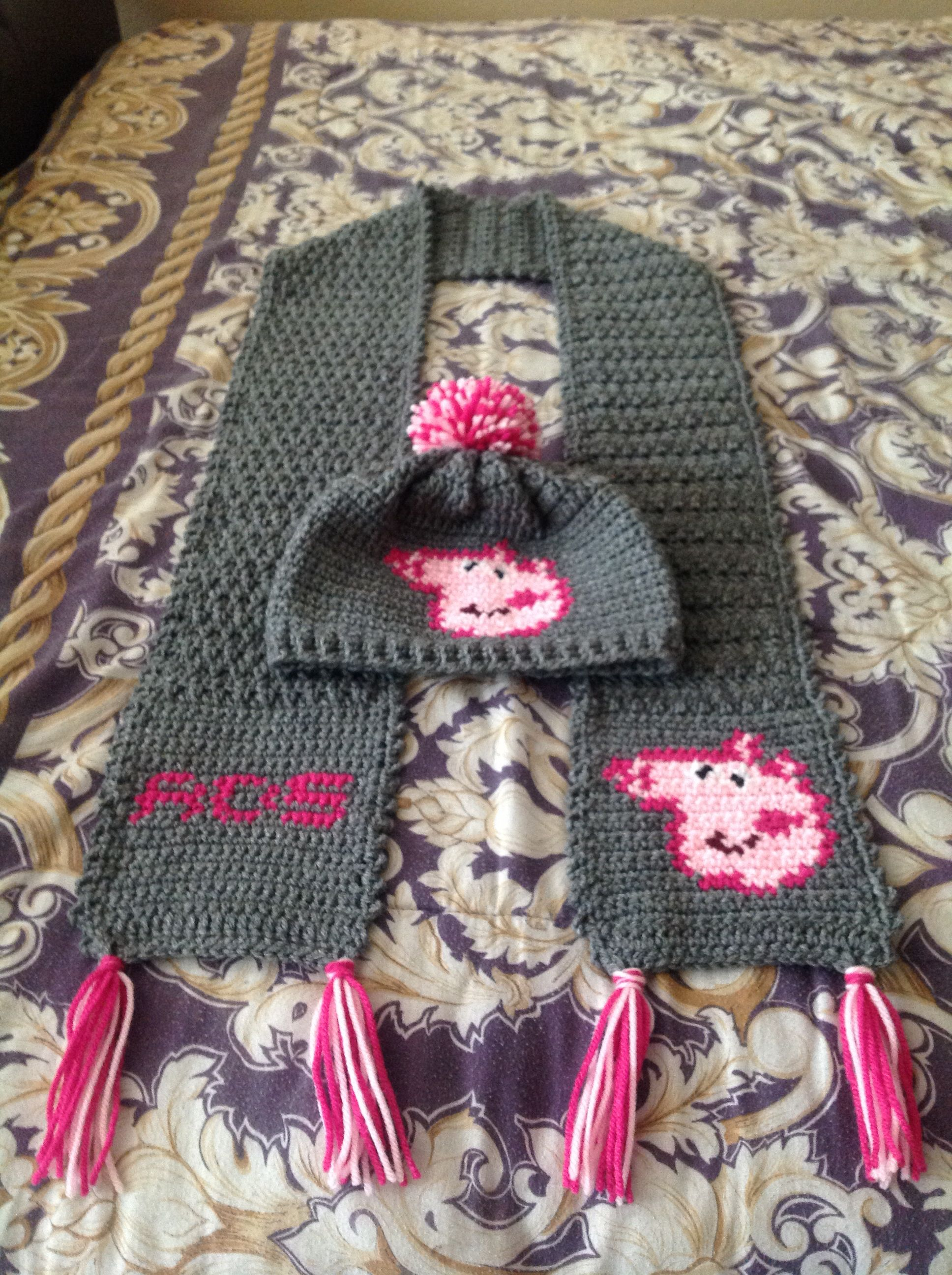 Crochet Peppa pig hat and scarf with initial | Crochet/Knitting ...