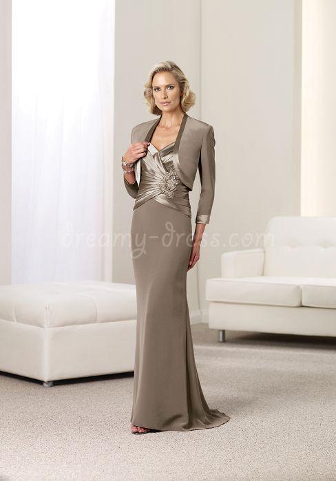 4ab45545e3a2 Sweetheart Satin Mermaid Floor-Length With Applique & A Wrap Mother of the Bride  Dresses - Dreamy-dress.com