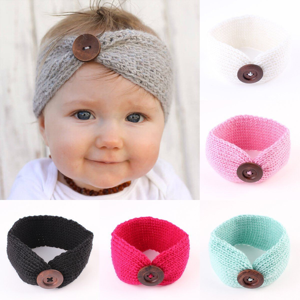 Nice amazing cute kids baby girls toddler knit turban hair band