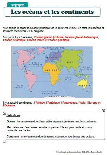 Océans Et Continents Ce2 Cm1 Cm2 éducation School