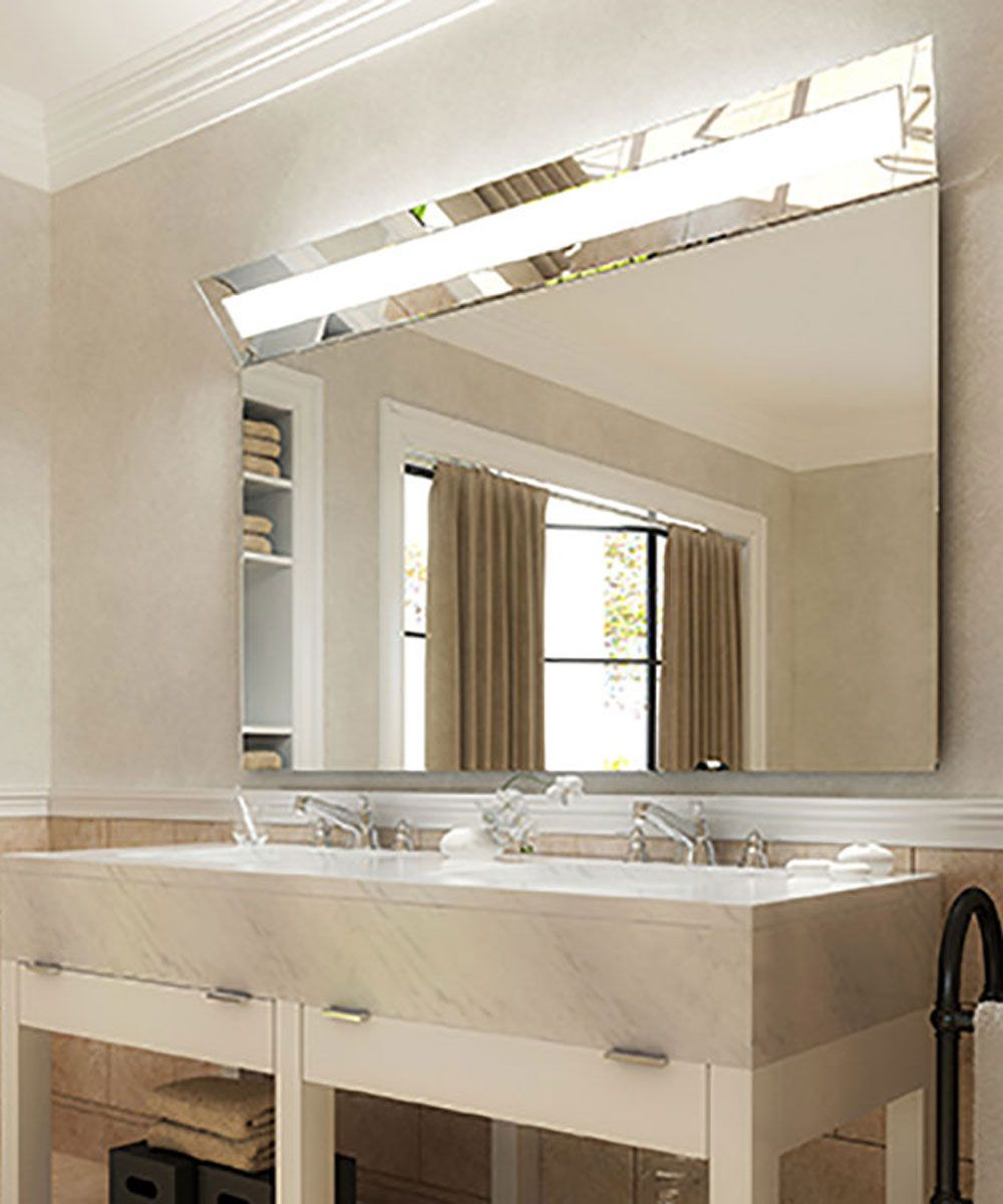 The Boulevard™™ Lighted Mirror by Electric Mirror has a down-angled ...