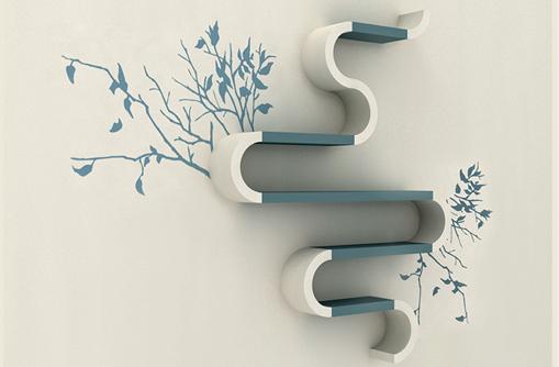 Artwork Of Prefect Design Of Tree Shaped Bookshelf