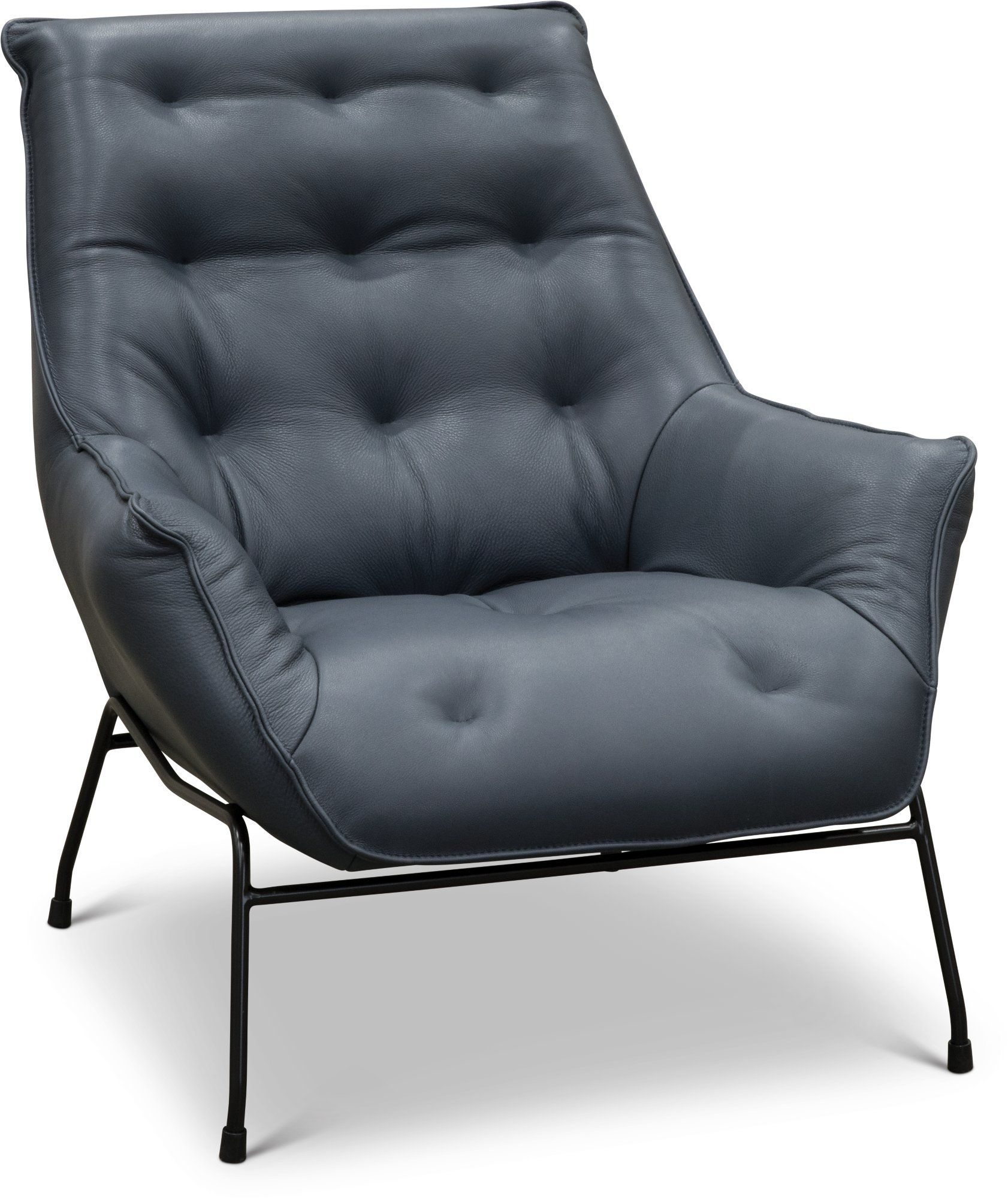 Modern Navy Leather Accent Chair Marseille Chair Accent