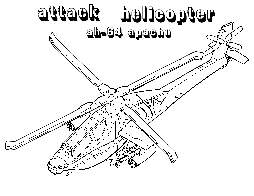 Apache Attack Helicopters Military Art Coloring pages