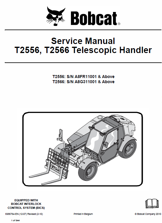 Bobcat T2556 And T2566 Telescopic Handler Service Manual Bobcat Manual Repair Manuals