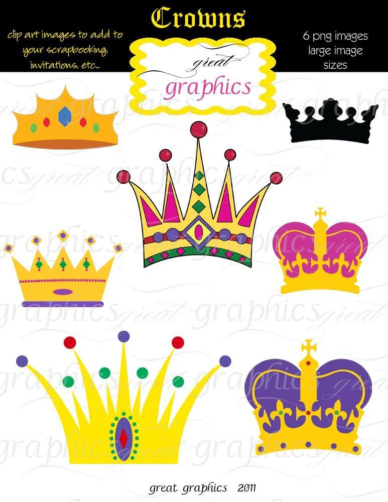 Crown Clipart, Digital Crown, Clip Art Crown, Crown Clip Art, Mardi ...