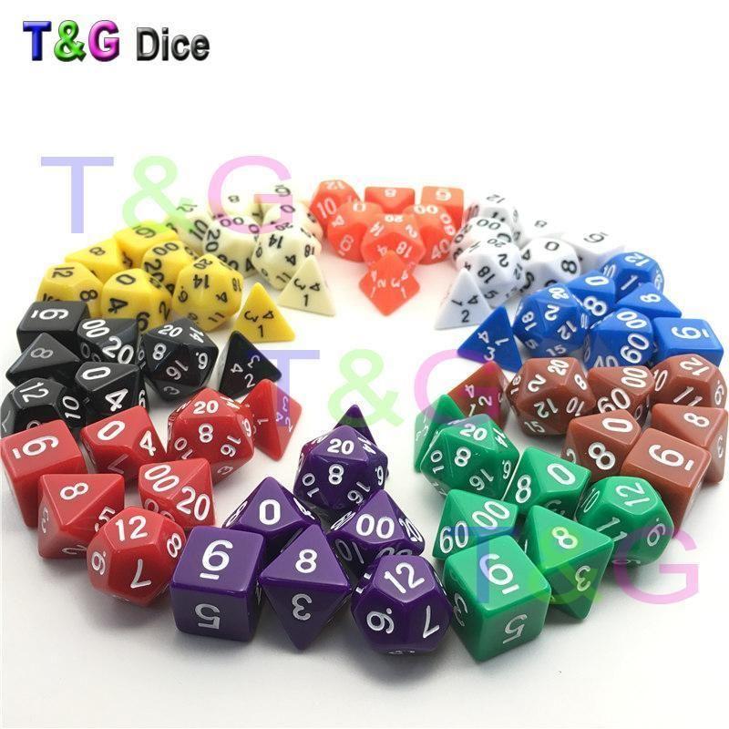 7 Dice Set TRPG For DND Multi Sided D4-D20 Acrylic Transparent 6 Colors Random M