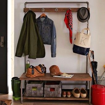 Pipe Entryway Storage Bench With Coat Rack And Waved Fabric Bins Clothes Hanger Shoes Mudroom Oganizer