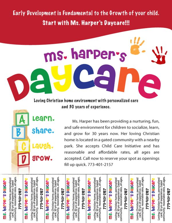 Free daycare flyers follow lauren ashley barnes for Daycare brochure template