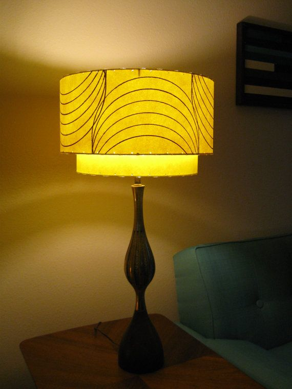 Mid Century Modern Lamp Shades Interesting Mid Century Vintage Style 2 Tier Fiberglass Lamp Shade Modern Atomic Review