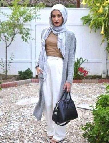 long gray cardigan neutral hijab- How to wear long cardigan with ...