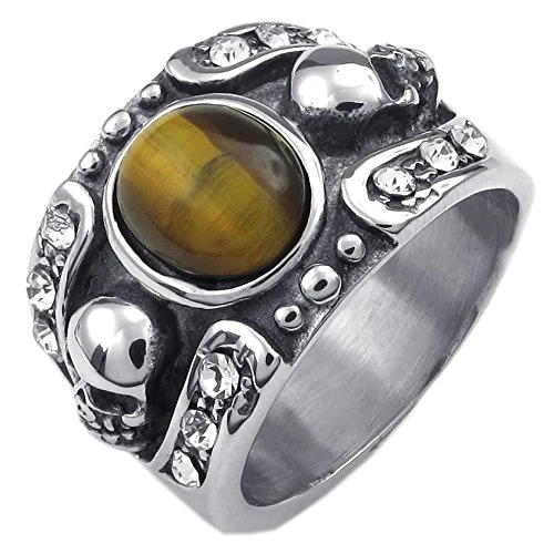 Men Tiger Eye Stainless Steel Ring, Gothic Skull, Yellow