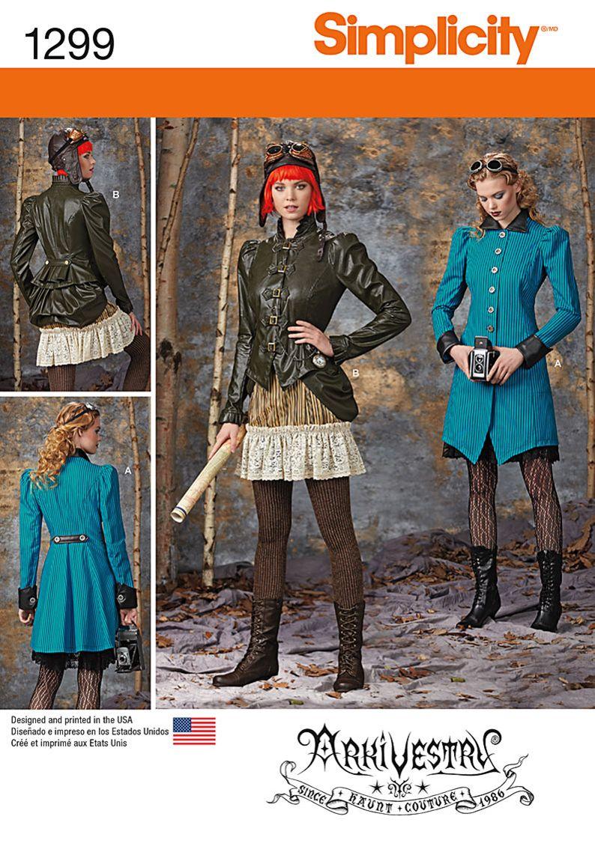 Steampunk Patterns Simplicity : steampunk, patterns, simplicity, Simplicity, Creative, Group, Misses, Costume, Coat,, Jacket,, Bustle, Ruffled, Skirts, Promising, Patronen, Naaien,, Patronen,, Steampunk, Kostuum