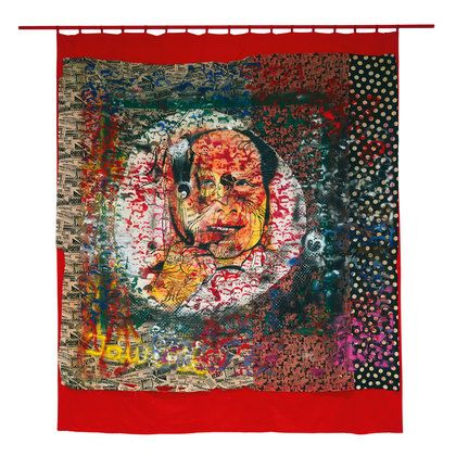 """Sigmar Polke. Mao. 1972. Synthetic polymer paint on patterned fabric mounted on felt with wooden dowel, overall: 12' 3"""" x 10' 3 1⁄2"""" ..."""