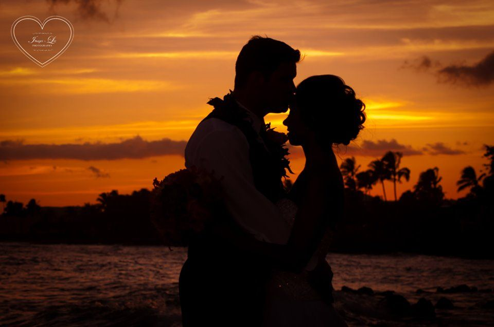 A gorgeous silhouette of Billy & Courtney from their wedding here at The Beach House! Restaurant on Kauai!