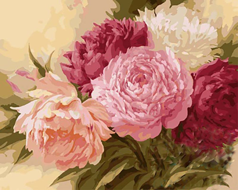 Картина по номерам, paint by numbers, раскраска по номерам, купить картину по номерам - Пионы Игоря Левашова - Zvetnoe.ru - раскраски по номерам, картины по номерам, алмазная мозаика