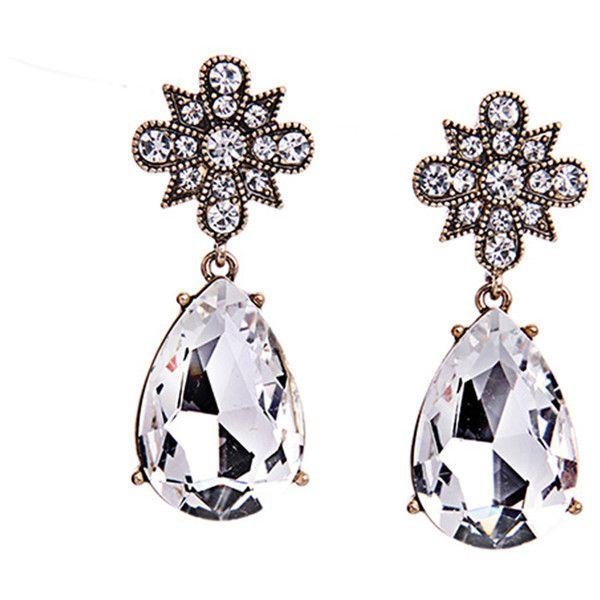 Her Velvet Vase Crystal Tear Drop Earrings (¥3,185) ❤ liked on Polyvore featuring jewelry, earrings, white, white druzy earrings, clear crystal drop earrings, teardrop earrings, clear crystal earrings and druzy drop earrings