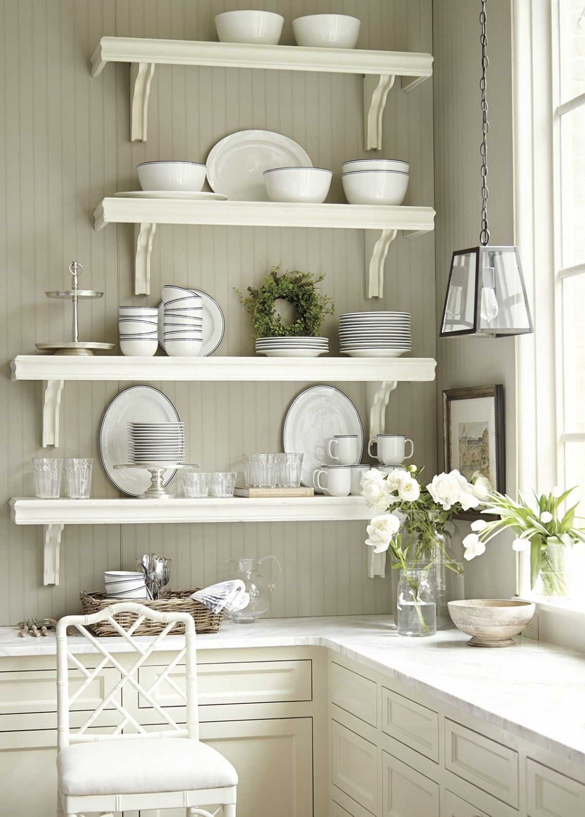 White Stained Wooden 4 Tier Floating Kitchen Shelves With Polished Steel Bracket Above L Shaped