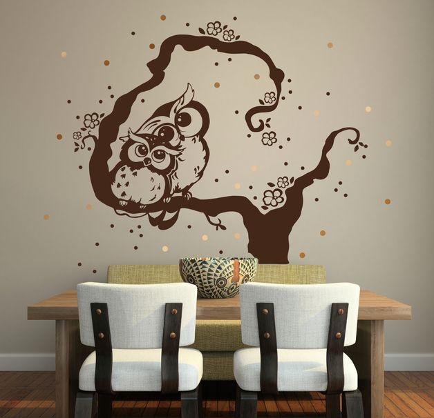 eulen wandtattoo lovely owls eulen eule baum m911 eulen. Black Bedroom Furniture Sets. Home Design Ideas