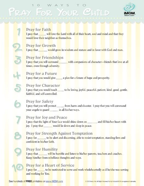 10 Ways to Pray For Your Child Printable