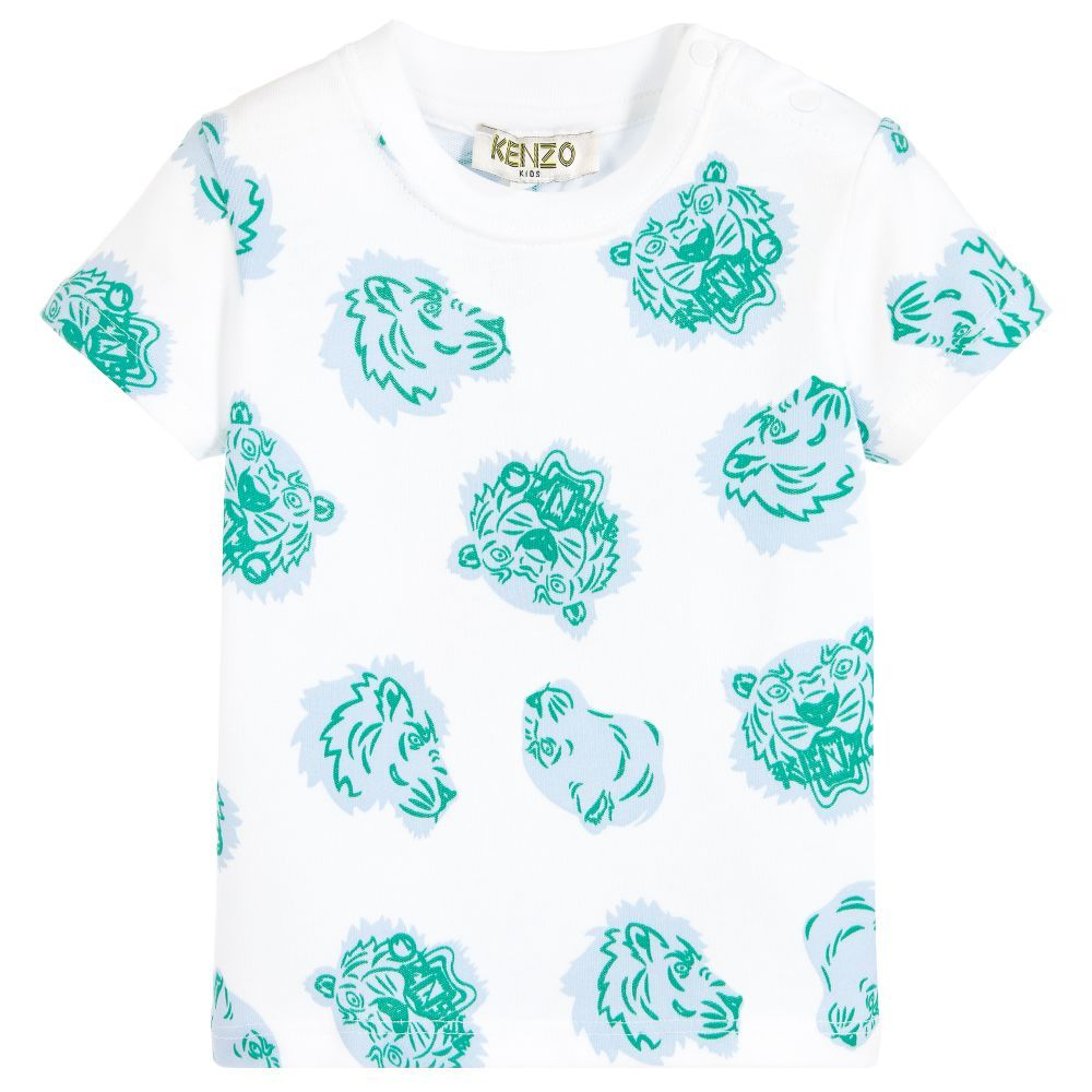 dbbb740d25625 White T-shirt for baby boys by  Kenzo Kids