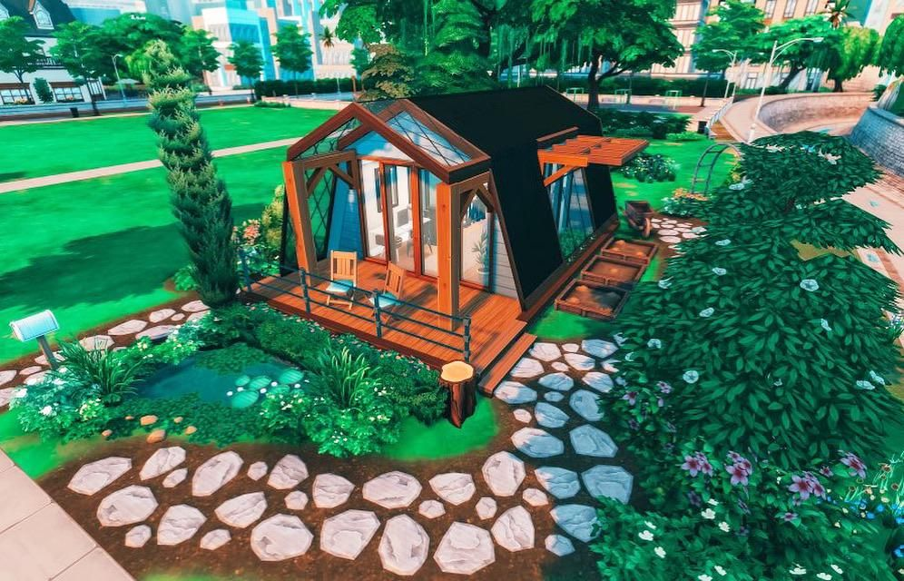 My Latest Build A Frame Eco Tiny Home No Cc Just Uploaded To The Gallery Origin Id Goldplumbob Thesims In 2020 Sims House Sims Building Sims 4 House Design