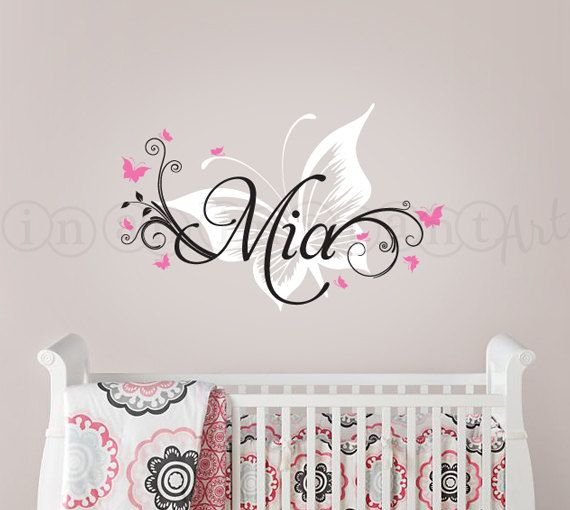 Butterfly and custom name wall decal butterfly nursery decal butterfly wall decal for baby nursery kids or childrens room 039
