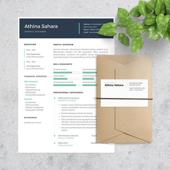 Administrative Assistant Resume Template Cover Letter Included