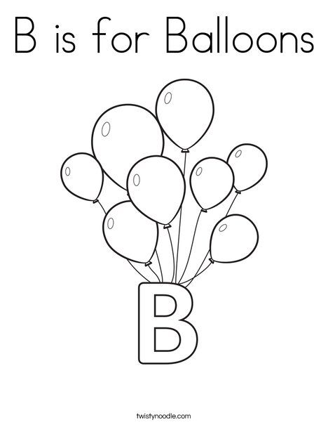 B Is For Balloons Coloring Page Letter B Crafts Coloring Pages